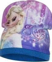 Goedkope frozen fleece muts elsa blauw meisjes