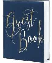 Goedkope gastenboek navy blauw goud