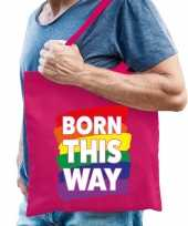 Goedkope gay pride born this way tas katoen fuchsia roze