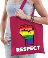 Goedkope gay pride respect katoenen tas roze