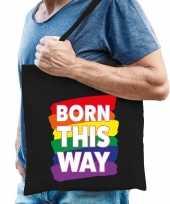 Goedkope gaypride born this way tas katoen zwart