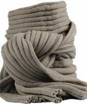 Goedkope gebreide sjaal khaki volwassenen