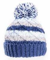 Goedkope gebreide winter muts blauw grijs pompon baby