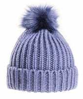Goedkope gebreide winter muts navy blauw pompon dames
