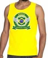 Goedkope geel brazil drinking team tanktop mouwloos shirt heren