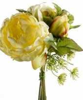 Goedkope geel kunstbloemen boeket pioenroos dille
