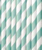 Goedkope gestreepte rietjes papier lichtblauw wit stuks