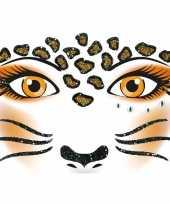 Goedkope gezicht stickers luipaard vel