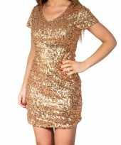 Goedkope gouden glitter pailletten disco jurkje dames