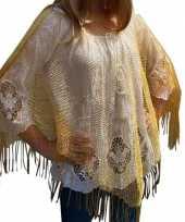 Goedkope gouden visnet poncho omslagdoek stola dames