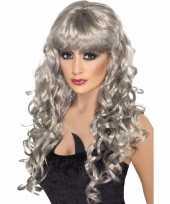 Goedkope grijze dames pruik lang krullend haar