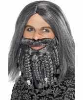 Goedkope grijze piraten pruik baard