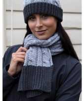 Goedkope grijze sjaal muts grof gebreid dames