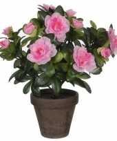 Goedkope groene azalea kunstplant roze bloemen pot stan grey