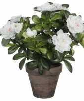 Goedkope groene azalea kunstplant witte bloemen pot stan grey