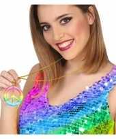 Goedkope grote gekleurde hippie ketting vredesteken