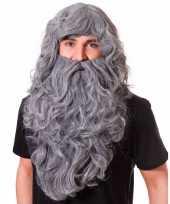 Goedkope grote grijze baard pruik