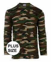 Goedkope grote maat camouflage shirt heren lange mouw