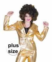 Goedkope grote maat gouden disco seventies colbert jasje dames