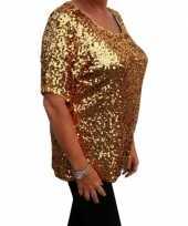 Goedkope grote maten gouden glitter pailletten disco shirt dames xl