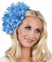 Goedkope haarbloem blauwe dahlia clip