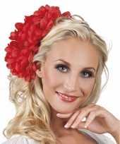 Goedkope haarbloem rode dahlia clip