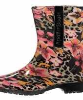 Goedkope halfhoge dames regenlaarzen luipaard bloemen goedkope
