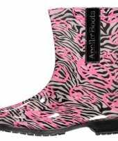 Goedkope halfhoge dames regenlaarzen zebra