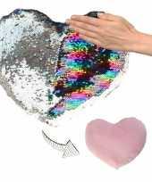 Goedkope hartjes kussen zilver roze metallic pailletten 10124737