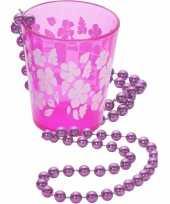 Goedkope hawaii ketting shotglas roze bloemen