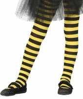 Goedkope heksen verkleedaccessoires panty maillot zwart geel meisjes