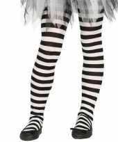 Goedkope heksen verkleedaccessoires panty maillot zwart wit meisjes