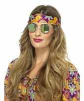 Goedkope hippie bril groene spiegelglazen volwassenen