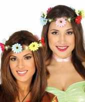 Goedkope hippie flower power verkleed bloemen hoofd krans dames