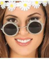 Goedkope hippie flower power verkleed zonnebril ronde glazen