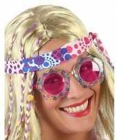 Goedkope hippie verkleed bril roze glazen volwassenen