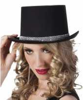 Goedkope hoge hoed zwart steentjes dames