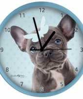 Goedkope honden wandklok franse bulldog blauw