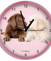 Goedkope honden wandklok labrador pups roze