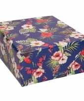 Goedkope inpakpapier cadeaupapier blauw bloemen design