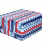 Goedkope inpakpapier cadeaupapier blauw rood gestreept rol