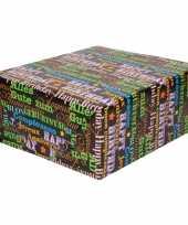 Goedkope inpakpapier cadeaupapier gekleurde tekst rol