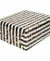 Goedkope inpakpapier cadeaupapier metallic goud zwart wit