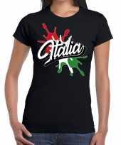 Goedkope italia italie t-shirt spetter zwart dames