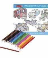 Goedkope jongens kleurboek kleurpotloden set