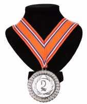 Goedkope kampioensmedaille nr aan oranje rood wit blauw lint 10091798