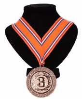 Goedkope kampioensmedaille nr aan oranje rood wit blauw lint 10091800
