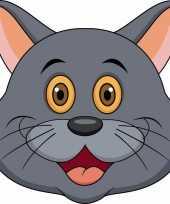 Goedkope kartonnen grijze katten poezen masker kinderen
