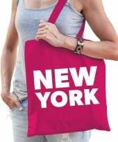 Goedkope katoenen amerika wereldstad tasje new york roze