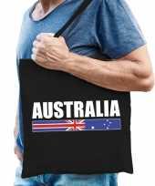 Goedkope katoenen australie supporter tasje australia zwart